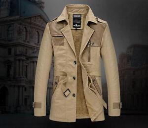Hot-Men-cotton-trench-coat-Jacket-Parkas-Stitching-leather-windbreaker-Overcoat