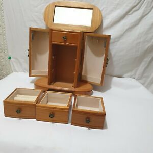 Solid  Wood  Vintage Style Jewellery Box with twin doors    fully lined inside