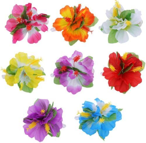 Di Ibisco Hawaiano Fiore Per Capelli Clip Lei Hula Luau Fancy Dress accessorio LOTTO