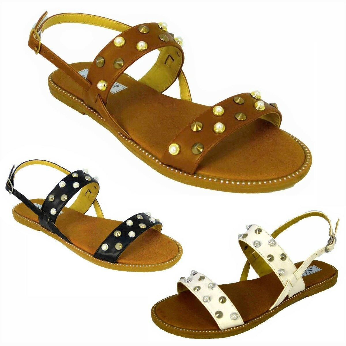 Gentleman/Lady LADIES WOMENS STUDDED FLAT ANKLE BUCKLE STRAPPY SUMMER SANDALS Complete SHOES UK SIZE 3-8 Complete SANDALS specification Pleasant appearance Shopping promotion BG846 9a8bde