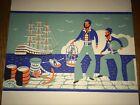Cunard Pirate & Ship Artwork 1952 Lunch Menu Travel Brochure Ocean Liner