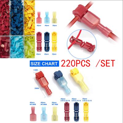 270 Pcs Assortment Car Bullet Connector Wire Crimp Terminal Kits 18-14//22-16 AWG
