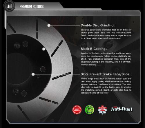 Front E-Coat Slott Brake Rotors Ceramic Pads Fit 06 07 Subaru Impreza WRX