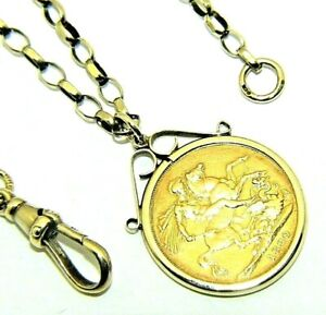 ea335ffb4ff4f Details about Ladies Gents 9ct Gold Chain & 22ct Gold Queen Victoria Full  Sovereign Pendant