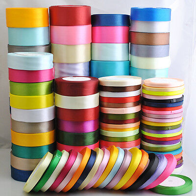 "25Yard/1roll Mix Color/Size Satin Ribbon From1/4"" to 2"" Craft Wedding Dec"