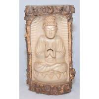 Thai Buddha Trunk Wood Carving Sculpture 30cm Crocodile Wood Hand Carved