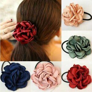 New-Women-Elastic-Rope-Gift-Ponytail-Holder-Scrunchie-Rose-Flower-Hair-Bands
