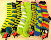 3 Pairs Juliet Women's Soft Cozy Fuzzy Warm Striped Assorted Green Slipper Socks