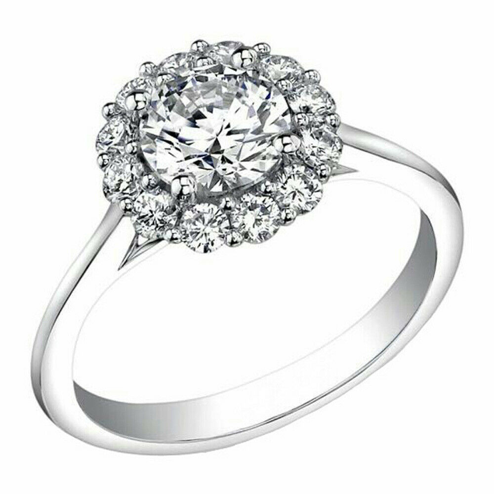 14K White gold Diamond Engagement Wedding Ring Round Halo 1.45 Ct DVVS1 Size 8