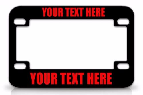 Black MOTORCYCLE License Plate Frame RED FONT CUSTOM PERSONALIZED METAL