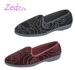 1e29426ba6350 Image is loading ZEDZZZ-Ladies-Smart-Glamorous-Diamante-Velour-Full-Slippers -