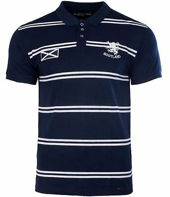 Gents Scotland Stripe Design Polo Shirt In Navy Size X-Large