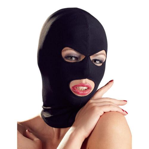 Isolationsmaske Kopfmaske Maske Kopf Stoff elastisch Augen Mund offen schwarz