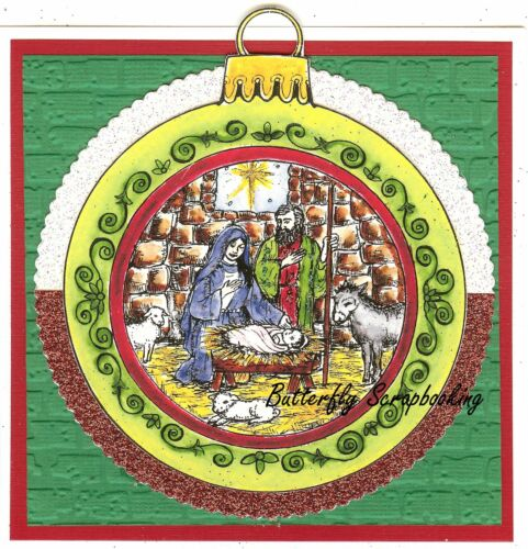 CHRISTMAS NATIVITY ORNAMENT Wood Mounted Rubber Stamp NORTHWOODS P10332 New