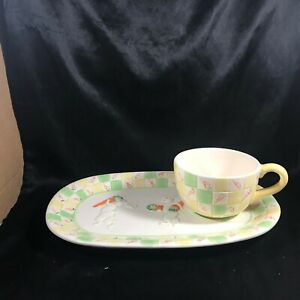 Ceramic Dancing Bunny Rabbit Carrot Snack Tray with Coup Mug Cup