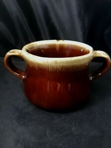 Vintage McCoy Two Handle Soup Bowl Mug Cup Brown Pottery Drip Glaze French Onion
