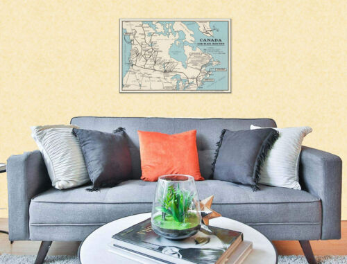 Color Canadian MAP of Canada Air Mail Routes Circa 1939 Art Print Poster 24x36