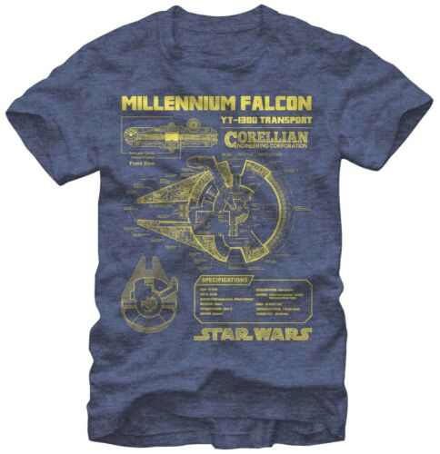 Star Wars Millennium Falcon YT-1300 Transport Navy Heather Men/'s T-Shirt New