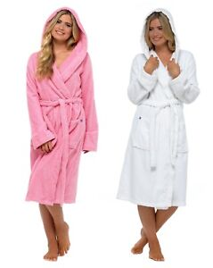 8727ddac2b Image is loading Womens-Pure-100-Cotton-Robe-Luxury-Toweling-Hooded-