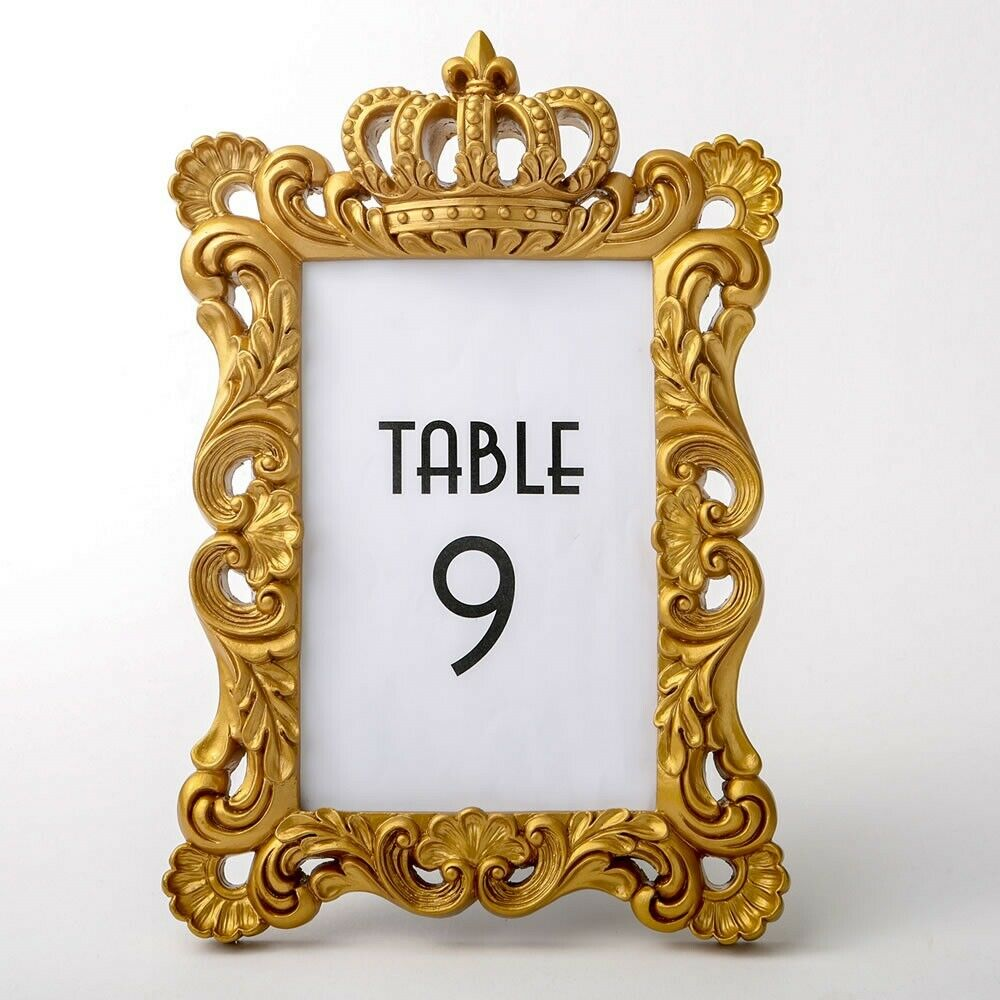30 Gold Royal Crown Photo Table Number Frame Wedding Bridal Shower Party Favors