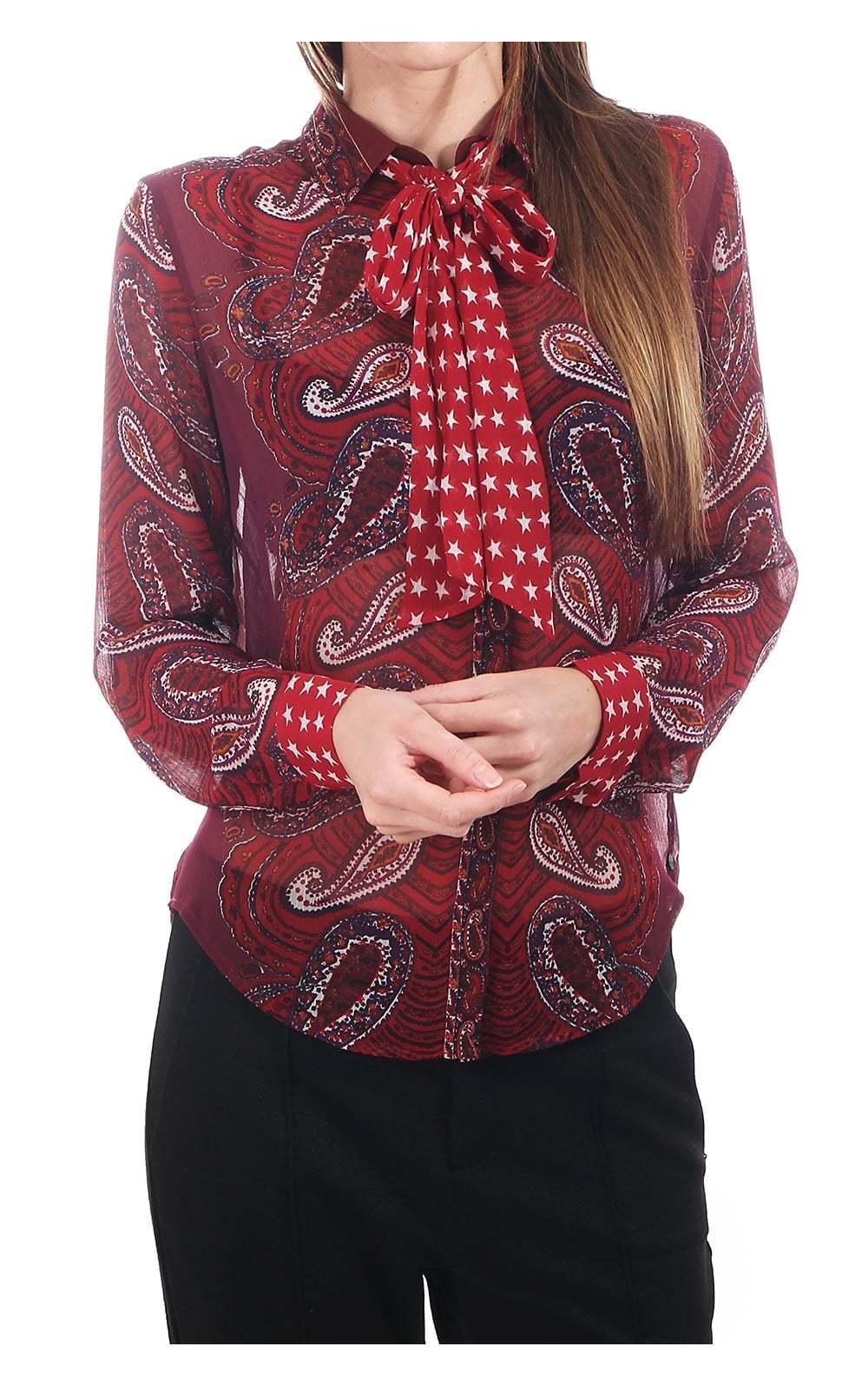 Maison SCOTCH top Paisley Con Star Cravatta Viola