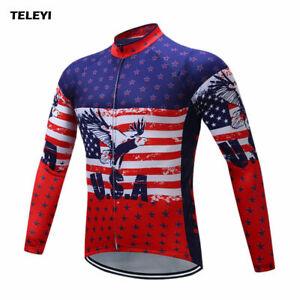 20fb80413 USA Cycling Jersey Men s Riding Long Sleeve Clothing Bike Wear Full ...