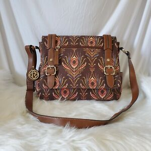 Relic by Fossil Brown Peacock Feather Print Purse Crossbody Bag Red Blue