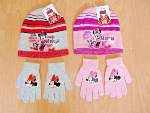 NEW GIRLS MINNIE MOUSE HAT AND GLOVES SET DISNEY PINK GREY AGES 2-4 4-8 YEARS