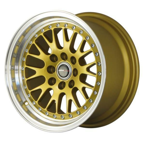 "JAPAN RACING JR10 16"" x 9"" ET10 GOLD MASSIVE WIDE ALLOYS RIMS WHEELS Z1876"