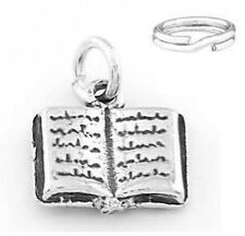 "STERLING SILVER  ""OPEN BOOK"" CHARM WITH SPLIT RING"