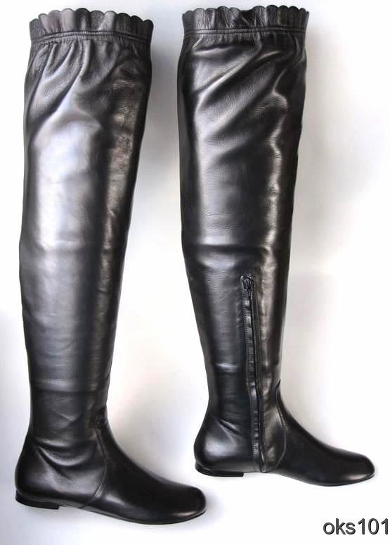 New MARC JACOBS negro leather over-the-knee flat botas - SUPER COMFORTABLE