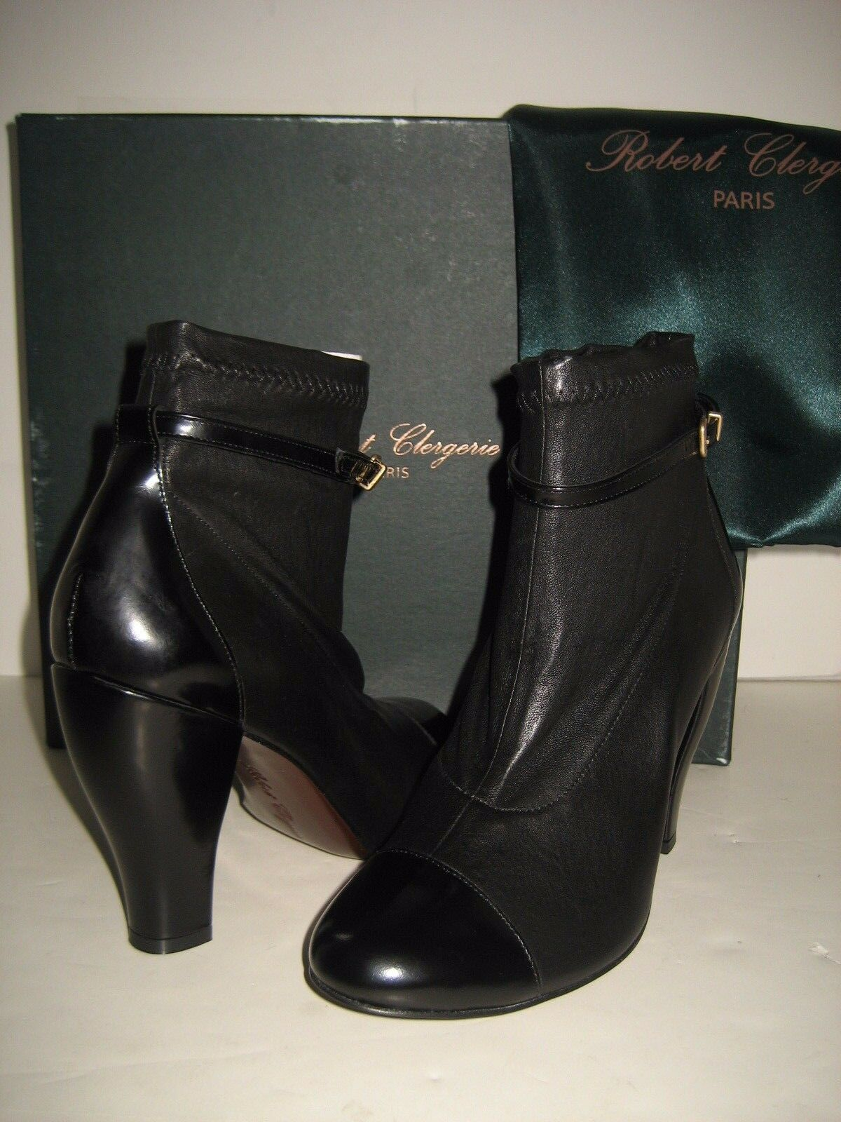 785 NEW Robert Clergerie Paris Mane US 8 Black Leather Heel Ankle Booties Boots