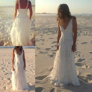 Image Is Loading Simple Beach V Neck White Ivory Lace Wedding