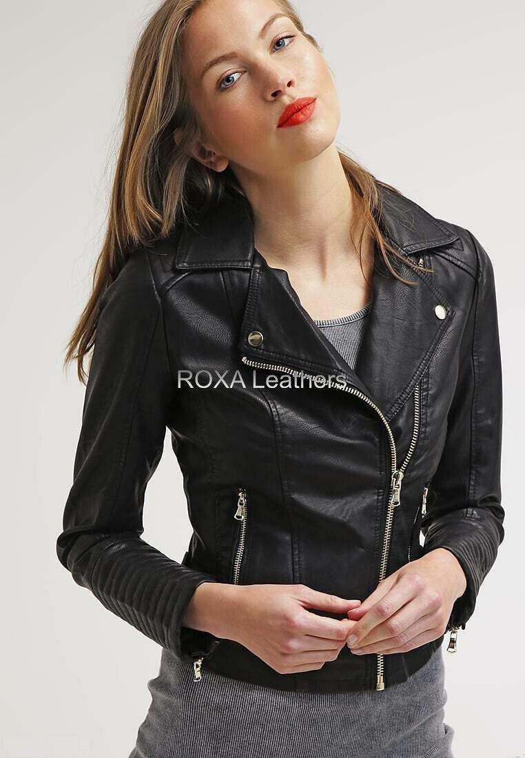 ROXA Designer Women's Black Genuine NAPA Natural Leather Jacket Motorcycle Coat