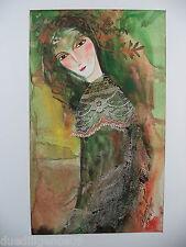 Cuban Cuba Artist Charo Hand SIGNED Painting SAD GIRL NATURAL FIBERS ART  93