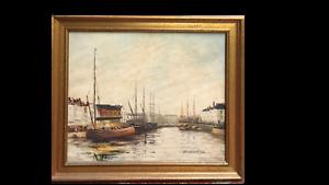 GUILLOUX - Vue de port breton- Huile sur toile signée encadrée