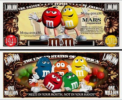 M & M's  Novelty Dollar Bill with free shipping & a protector