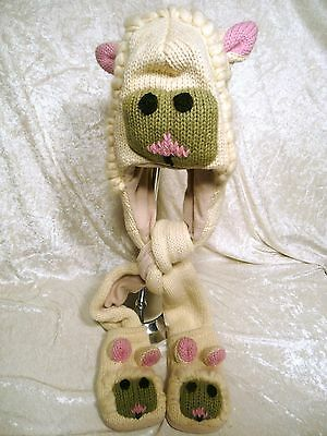 New Donkey Animal Hood Hoodie Hat Wool 3 Full Faces Function Pink Ear Hand Made!
