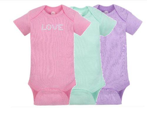 Gerber Wonder Nation Baby Girl Bodysuit 3 Pack 12 Month Pink Purple Green