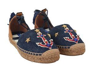 6a748e5a013 Details about NEW $660 DOLCE & GABBANA Shoes Espadrilles Blue Denim Leather  Tassel EU38 /US7.5