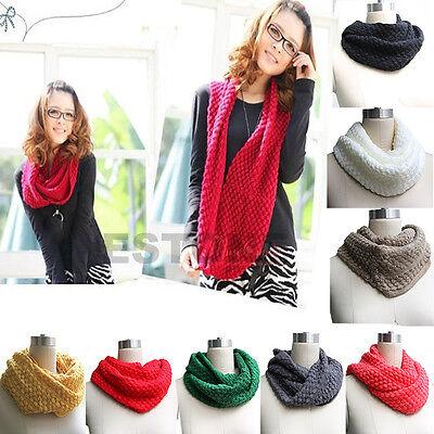 Fashion Women Winter Warm Knit Neck Circle Wool Cowl Snood Long Scarf Shawl Wrap