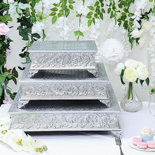 22x22-Inch wide Silver Square Embossed Cake Stand Riser Wedding Decorations SALE