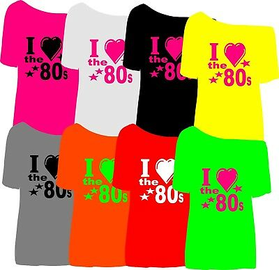 I Love The  1980`S T SHIRT  FANCY DRESS PARTY xs to 5x slim and lose fit