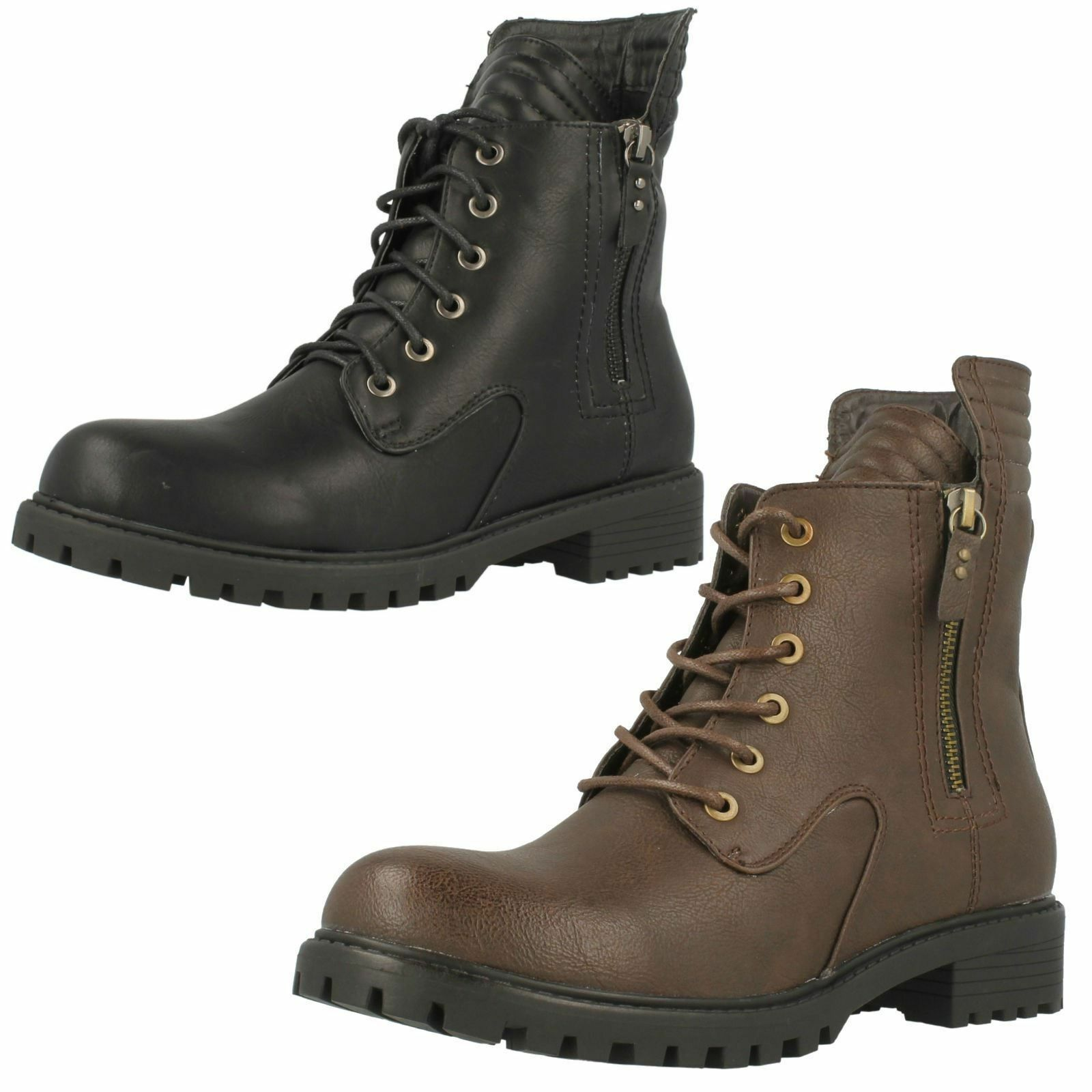 SALE Ladies F50325S Combat Ankle Lace-Up Boots  by Spot On £19.99