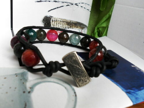 Multicolor Natural Faceted AGATE Distessed Brown Leather Wrap Bracelet BoHo