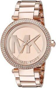 3cf55fedc920 Michael Kors Parker Rose Gold MK Logo Dial MK5865 39mm Ladies Watch ...