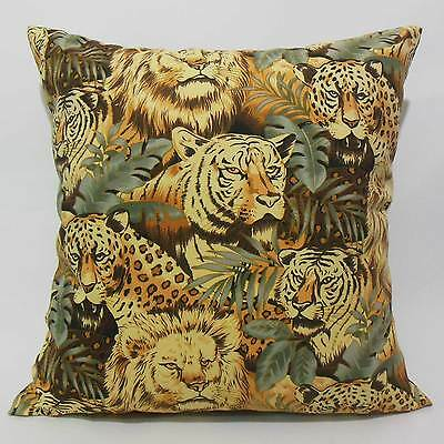 FFA-179 LION TIGER PANTHER CATS Canvas Throw Pillow Cushion Cover Custom Size
