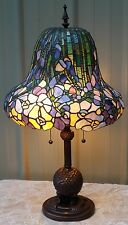 """29"""" TIFFANY REPRODUCTION STYLE STAINED GLASS FLORAL PEONY LAMP FOOTED BASE"""