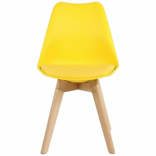 Tulip Dining Chairs, Solid Wood Legs, ABS Plastic, Padded Design Black,White,Yellow,Dark Grey,Orange,Light grey,Red,Blue,Green