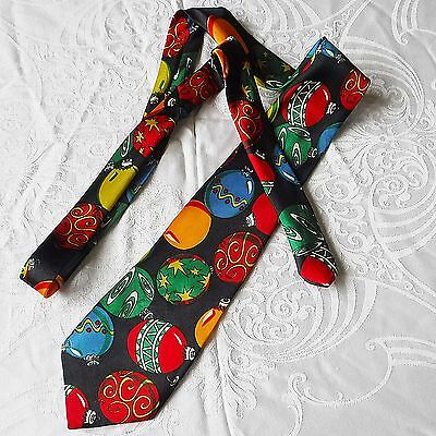 *novelty Tie By 'funtyme' Black With Colourful Baubles Great For Party Clubbing